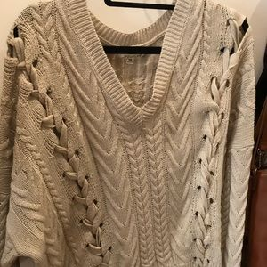 Cream sweater with laces